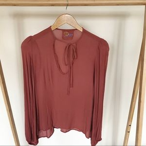 Blue Life Tie Front Frayed V-neck Top in Rust